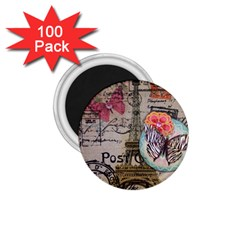 Floral Scripts Butterfly Eiffel Tower Vintage Paris Fashion 1.75  Button Magnet (100 pack)