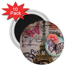 Floral Scripts Butterfly Eiffel Tower Vintage Paris Fashion 2 25  Button Magnet (10 Pack)
