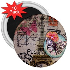 Floral Scripts Butterfly Eiffel Tower Vintage Paris Fashion 3  Button Magnet (10 pack)