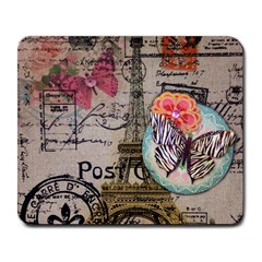 Floral Scripts Butterfly Eiffel Tower Vintage Paris Fashion Large Mouse Pad (Rectangle)