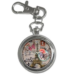 Floral Scripts Butterfly Eiffel Tower Vintage Paris Fashion Key Chain & Watch