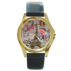 Floral Scripts Butterfly Eiffel Tower Vintage Paris Fashion Round Metal Watch (gold Rim)