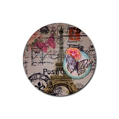 Floral Scripts Butterfly Eiffel Tower Vintage Paris Fashion Drink Coaster (Round)