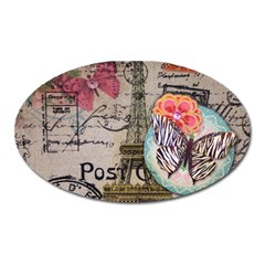 Floral Scripts Butterfly Eiffel Tower Vintage Paris Fashion Magnet (oval)