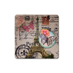 Floral Scripts Butterfly Eiffel Tower Vintage Paris Fashion Magnet (Square)