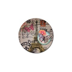 Floral Scripts Butterfly Eiffel Tower Vintage Paris Fashion Golf Ball Marker