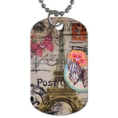 Floral Scripts Butterfly Eiffel Tower Vintage Paris Fashion Dog Tag (Two-sided)