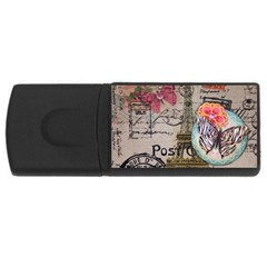 Floral Scripts Butterfly Eiffel Tower Vintage Paris Fashion 1GB USB Flash Drive (Rectangle)