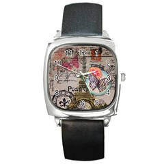 Floral Scripts Butterfly Eiffel Tower Vintage Paris Fashion Square Leather Watch