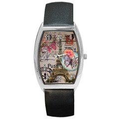 Floral Scripts Butterfly Eiffel Tower Vintage Paris Fashion Tonneau Leather Watch
