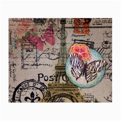 Floral Scripts Butterfly Eiffel Tower Vintage Paris Fashion Glasses Cloth (Small)