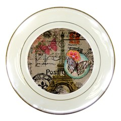 Floral Scripts Butterfly Eiffel Tower Vintage Paris Fashion Porcelain Display Plate