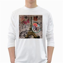 Floral Scripts Butterfly Eiffel Tower Vintage Paris Fashion Mens' Long Sleeve T-shirt (White)