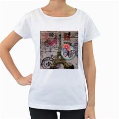 Floral Scripts Butterfly Eiffel Tower Vintage Paris Fashion Womens' Maternity T-shirt (White)