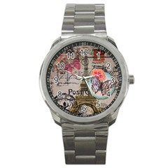 Floral Scripts Butterfly Eiffel Tower Vintage Paris Fashion Sport Metal Watch