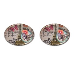 Floral Scripts Butterfly Eiffel Tower Vintage Paris Fashion Cufflinks (oval)