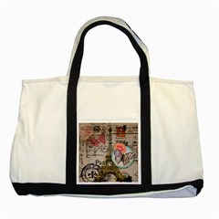 Floral Scripts Butterfly Eiffel Tower Vintage Paris Fashion Two Toned Tote Bag