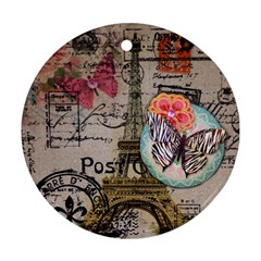 Floral Scripts Butterfly Eiffel Tower Vintage Paris Fashion Round Ornament (Two Sides)