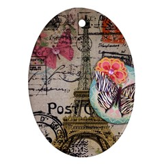 Floral Scripts Butterfly Eiffel Tower Vintage Paris Fashion Oval Ornament (Two Sides)