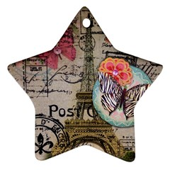 Floral Scripts Butterfly Eiffel Tower Vintage Paris Fashion Star Ornament (two Sides)