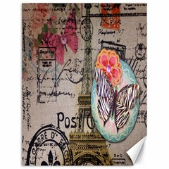 Floral Scripts Butterfly Eiffel Tower Vintage Paris Fashion Canvas 18  x 24  (Unframed)