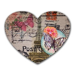 Floral Scripts Butterfly Eiffel Tower Vintage Paris Fashion Mouse Pad (heart)