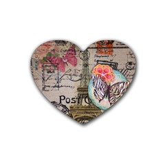 Floral Scripts Butterfly Eiffel Tower Vintage Paris Fashion Drink Coasters 4 Pack (Heart)