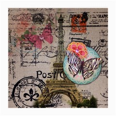 Floral Scripts Butterfly Eiffel Tower Vintage Paris Fashion Glasses Cloth (medium, Two Sided)