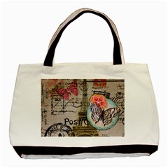Floral Scripts Butterfly Eiffel Tower Vintage Paris Fashion Twin Sided Black Tote Bag