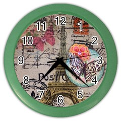 Floral Scripts Butterfly Eiffel Tower Vintage Paris Fashion Wall Clock (Color)
