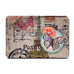 Floral Scripts Butterfly Eiffel Tower Vintage Paris Fashion Small Door Mat