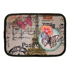 Floral Scripts Butterfly Eiffel Tower Vintage Paris Fashion Netbook Case (Medium)
