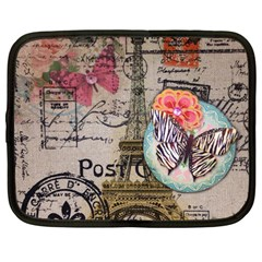 Floral Scripts Butterfly Eiffel Tower Vintage Paris Fashion Netbook Case (Large)