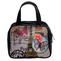 Floral Scripts Butterfly Eiffel Tower Vintage Paris Fashion Classic Handbag (two Sides)