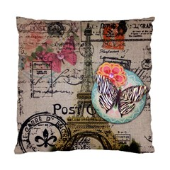 Floral Scripts Butterfly Eiffel Tower Vintage Paris Fashion Cushion Case (single Sided)