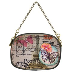 Floral Scripts Butterfly Eiffel Tower Vintage Paris Fashion Chain Purse (Two Sided)