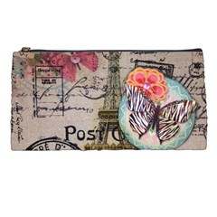 Floral Scripts Butterfly Eiffel Tower Vintage Paris Fashion Pencil Case