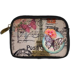 Floral Scripts Butterfly Eiffel Tower Vintage Paris Fashion Digital Camera Leather Case