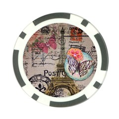 Floral Scripts Butterfly Eiffel Tower Vintage Paris Fashion Poker Chip 10 Pack