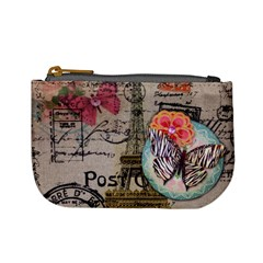 Floral Scripts Butterfly Eiffel Tower Vintage Paris Fashion Coin Change Purse