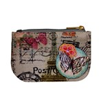 Floral Scripts Butterfly Eiffel Tower Vintage Paris Fashion Coin Change Purse Back