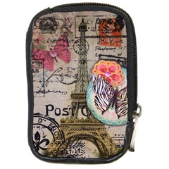 Floral Scripts Butterfly Eiffel Tower Vintage Paris Fashion Compact Camera Leather Case