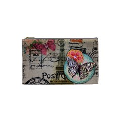 Floral Scripts Butterfly Eiffel Tower Vintage Paris Fashion Cosmetic Bag (Small)