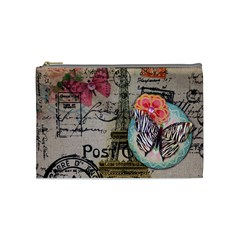 Floral Scripts Butterfly Eiffel Tower Vintage Paris Fashion Cosmetic Bag (medium)
