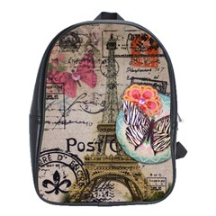 Floral Scripts Butterfly Eiffel Tower Vintage Paris Fashion School Bag (Large)
