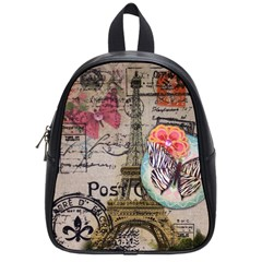 Floral Scripts Butterfly Eiffel Tower Vintage Paris Fashion School Bag (Small)