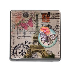Floral Scripts Butterfly Eiffel Tower Vintage Paris Fashion Memory Card Reader with Storage (Square)