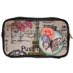 Floral Scripts Butterfly Eiffel Tower Vintage Paris Fashion Travel Toiletry Bag (one Side)