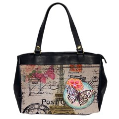 Floral Scripts Butterfly Eiffel Tower Vintage Paris Fashion Oversize Office Handbag (Two Sides)