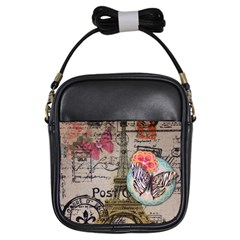 Floral Scripts Butterfly Eiffel Tower Vintage Paris Fashion Girl s Sling Bag